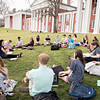 Leah Green, visiting assistant professor of environmental studies and English, teaches class on the front lawn.