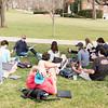 Matt Gildner, assistant professor of history, teaches class on the front lawn.