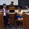 Student panelists at the opening session of the Diversity Symposium included Elliott Emadian '17, MaKayla Lorick '19, and Kassie Scott '18 (Associate Dean of Students Tammy Futrell, seen behind, was the moderator).