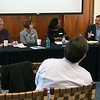 David Collins, of Georgetown University (right), speaking at a conference in Hillel House organized by Universities Studying Slavery; other panelists included Mark Miller and Whitney Leeson, of Roanoke College, and Jody Allen, of William and Mary. Audience member, Tom Camden, W&L's head of special collections & archives in front row listens.
