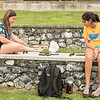 Maya Epelbaum '16 and Meera Kumar '16 play Qwirkle in the Cohen Amphitheater.