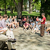 Associate Professor of Biology, Nadia Ayoub teaches a Spring Term class in front of R.E. Lee Church.