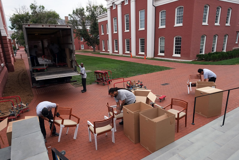 New Classroom And Office Furniture Being Delivered To Huntley Hall (Newcomb  Hall Behind At Right