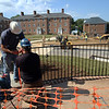 Finishing touches to the front of Graham-Lees Hall and to the Washington Street green space in progress.