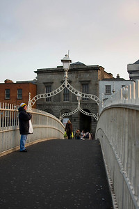Standing on the Ha'penny bridge.