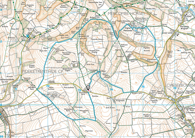 The route of the actual walk of 19 July - it was 8.48 miles long.