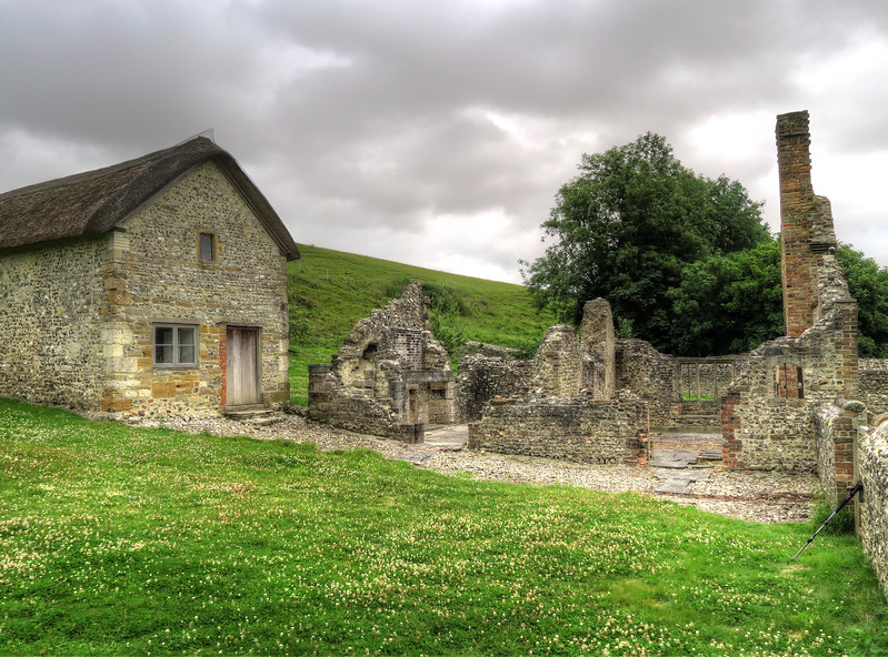 The chapel and cottages at Lyscombe Farm