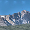 Longs Peak at 14,259' in the center. Mount Meeker on the left just under the 14,000' mark at 13,911', and on the Right Mount Lady Washington at 13,281.