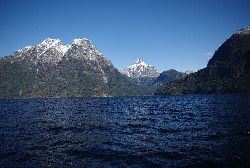Early on in the job I pass this spot looking up Jervis Inlet towards Mt Churchill and the Marborough Heights.