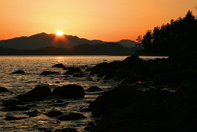 Ocean sunset in Sechelt, Vancouver.