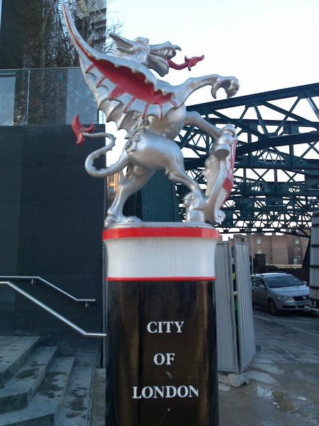 The City of London boundary dragon at Bishopsgate