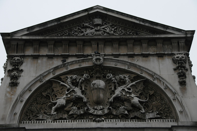 Sculpted crest over Smithfield Market east entrance