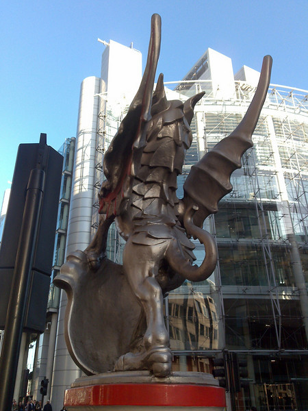 The City of London boundary dragon at Moorgate