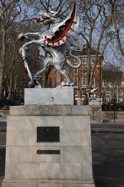 Pair of boundary dragons on Victoria Embankment