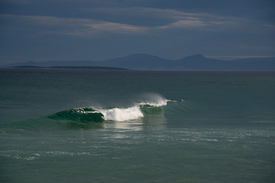 Sun hits wave at St Helens Tasmania