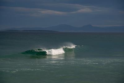 Sun hits wave at St Helens Tasmania