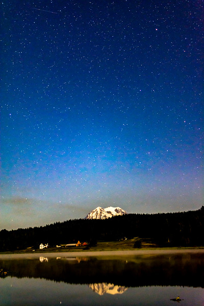 Night Sky With Mount Rainier and Rap John Lake