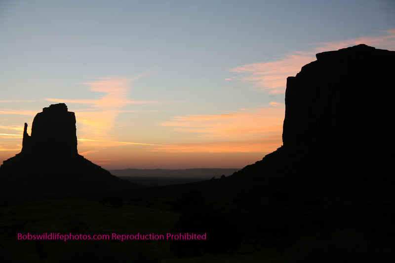 This is a shot of sunrise in the Navaho tribal park, with one of the mittens at the right.