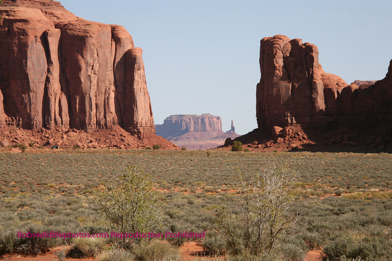 This shot taken in the Navajo tribal park shows the dramitic changes in senery. In the far distance is the Totem Pole.