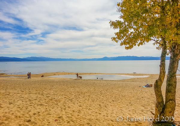People on the beach, Lake Tahoe, California