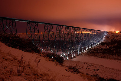 Lethbridge High Level Bridge lit up for New Years Eve, 2009.