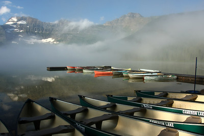 Cameron Lake Boat Dock on a foggy morning.