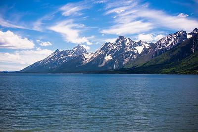 Grand Tetons behind Lake Jackson