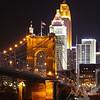 a Cincinnati Bridge at night