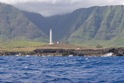 "the ""backside"", Northern coast of Molokai, Kalaupapa in the morning, the lighthouse"