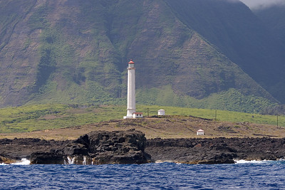 """the """"backside"""", Northern coast of Molokai, Kalaupapa in the morning, the lighthouse"""