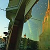The Unitarian Church is reflected in a downtown store window. The church will be the venue for the Jean C. Wilson Music Series.