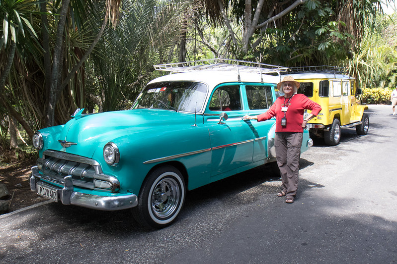 Linda in front of a 50's Chevy station wagon