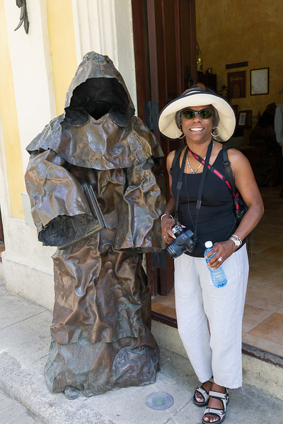 Sharon with headless statue