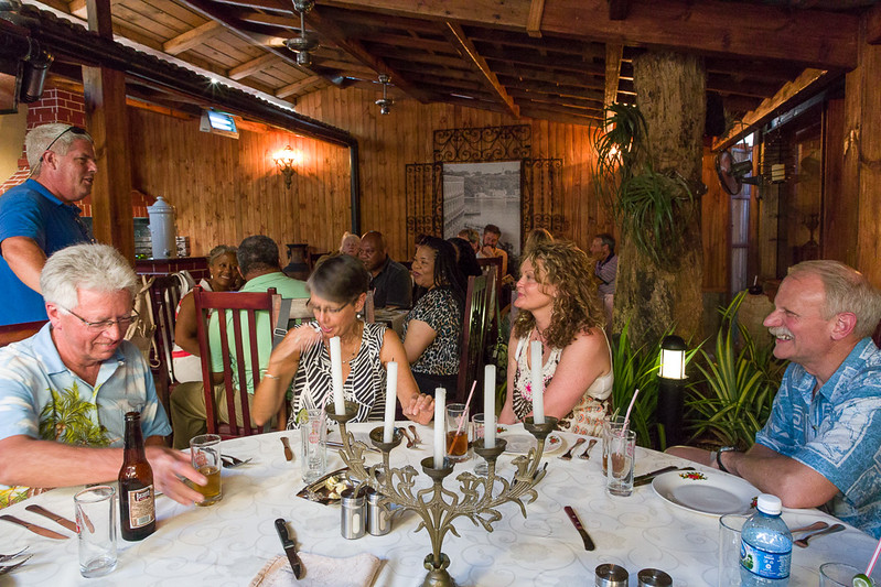 """Part of the group at Restaurant La Maraleja, Havana, Cuba. """"Israel"""", standing on the left, our Cuban tour leader, was a real character! And a lot of fun."""