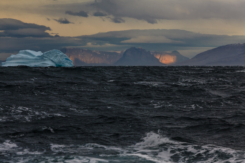 9/15/15, 7:01 PM. Sailing into the Northwest passage of Vaigat Strait, with 50 KPH winds.