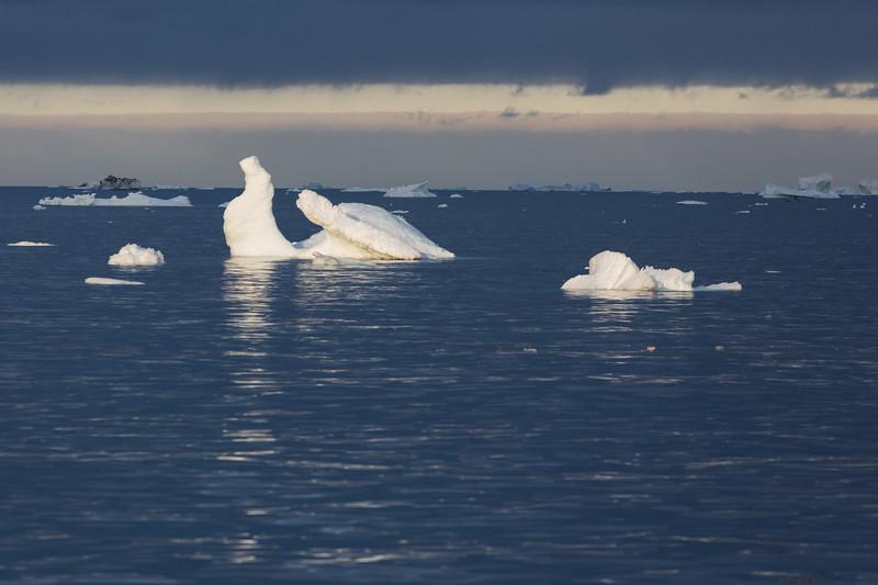9/11/15, 8:03 AM. Growler Icebergs in Vaigat Strait (Sullorsuaq Strait) in Western Greenland. The strait separates Nuussuaq Peninsula in the northeast from Qeqertarsuaq Island in the southwest.