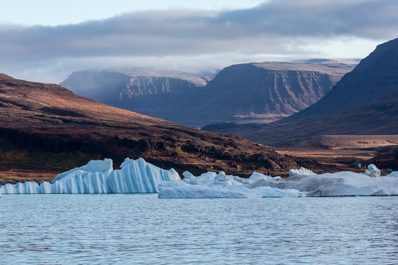 9/11/2015, 8:22 AM. Striated icebergs seen as we approach our destination.