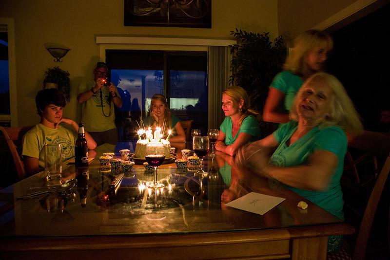 Nick, Charlie, Sam, Dana, Debbie, & Linda with the sparkling cake.