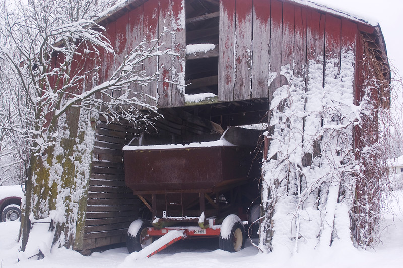 old corncrib in winter