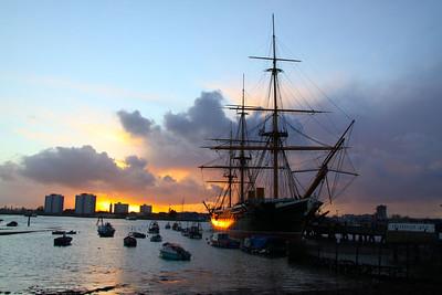 HMS Warrior in Portsmouth Harbour at dusk  26/01/12