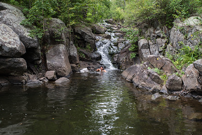 My wife enjoying a swimming hole in Keene Creek.