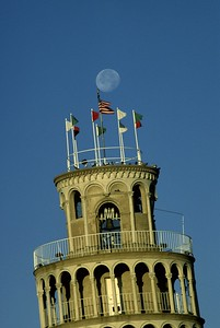 Moonrise, Leaning Tower of Niles, Illinois