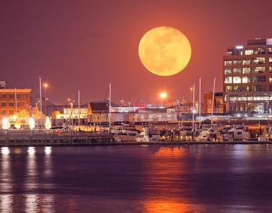Moonrise over Baltimore Inner Harbor