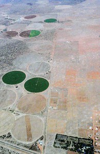 Air shot of circular irrigation