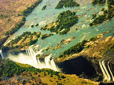 Air shot of the slot in the earth that is the Victoria Falls