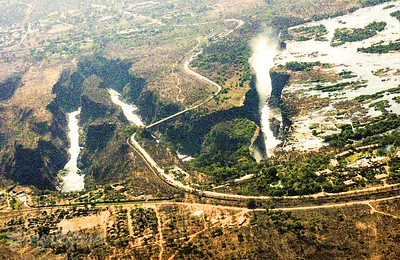 Air shot of the Victoria Falls