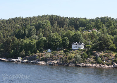 Typical Housing on the shoreside of the Fiord leading into Oslo