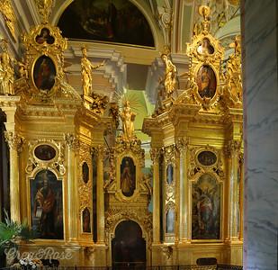 Gold Gilded Finishes and  Murals and Art in the Church of Nicholas II Burial Place