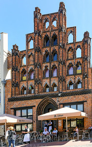 This facade with a cafe is one of the many dominant sites in Wismar Market Square
