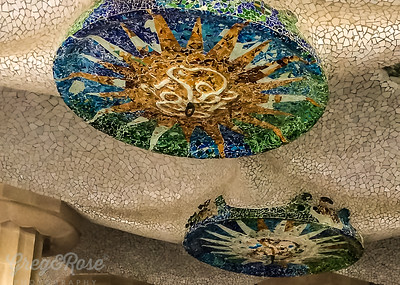 These mosaics are set into the ceiling under the Podium